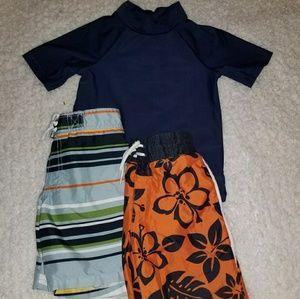 Boys 4T swimsuits and swim shirt Gymboree